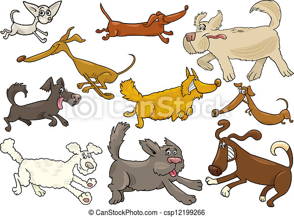 cartoon playful running dogs set - csp12199266