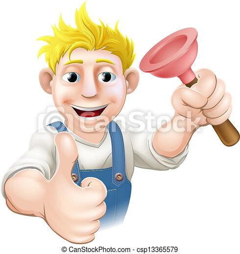 Cartoon plunger plumber - csp13365579