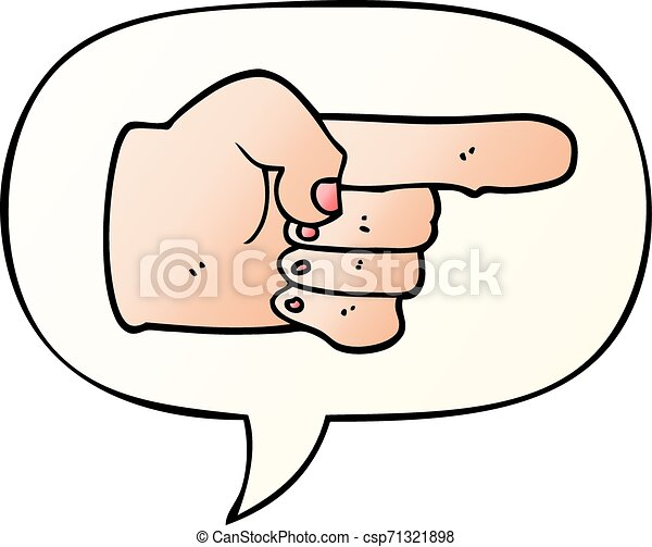 cartoon pointing hand and speech bubble in smooth gradient style cartoon pointing hand with speech bubble in smooth gradient can stock photo