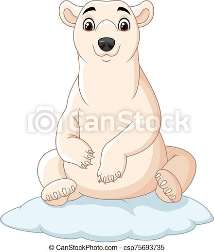 Cartoon polar bear sitting on ice floe - csp75693735