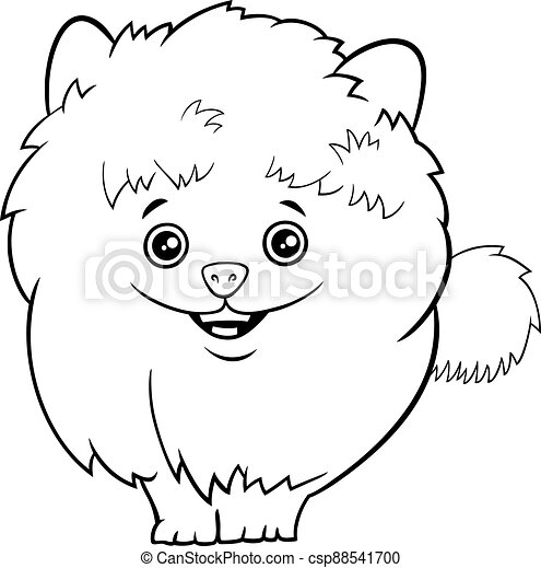 Cartoon Pomeranian Dog Or Puppy Coloring Book Page. Black And White Cartoon  Illustration Of Cute Shaggy Purebred Pomeranian CanStock