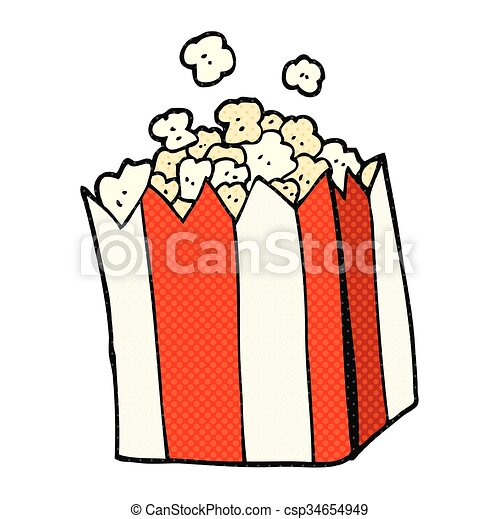 cartoon popcorn - csp34654949
