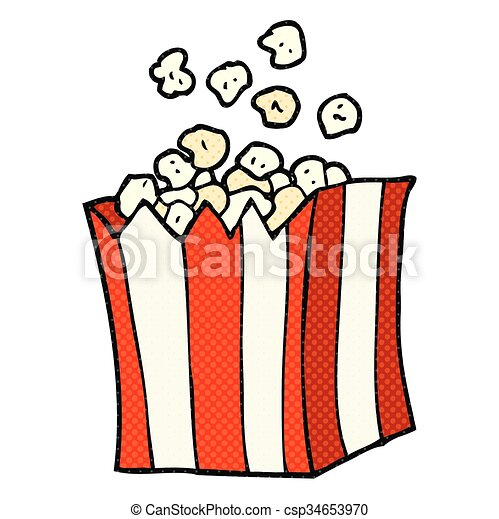 cartoon popcorn - csp34653970
