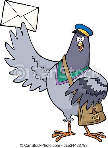 Cartoon post pigeon - csp34432793