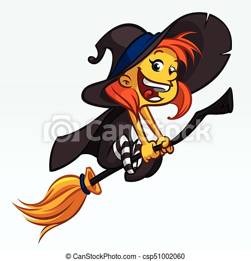 cartoon pretty funny witch flying on her broom halloween clip rh canstockphoto com awesome halloween clipart