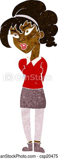 cartoon pretty girl tilting head - csp20475886
