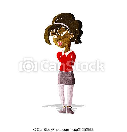 cartoon pretty girl tilting head - csp21252583