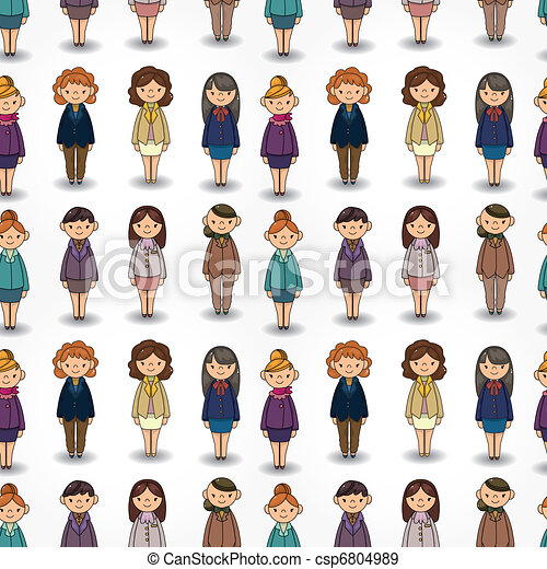 cartoon pretty office woman worker seamless pattern - csp6804989