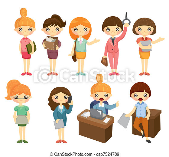 cartoon pretty office woman worker icon set - csp7524789