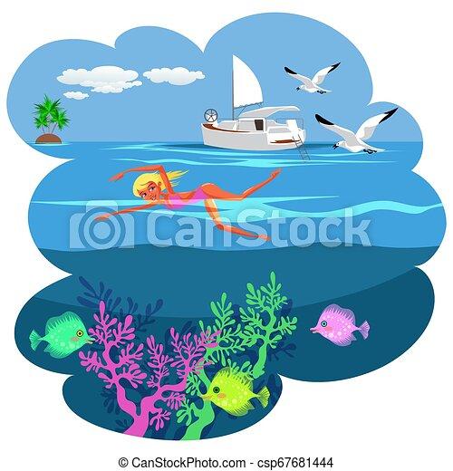 Cartoon pretty woman swimming in blue ocean - csp67681444