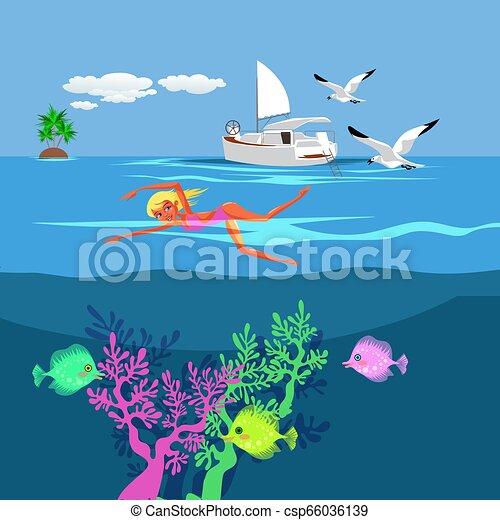 Cartoon pretty woman swimming in blue ocean - csp66036139