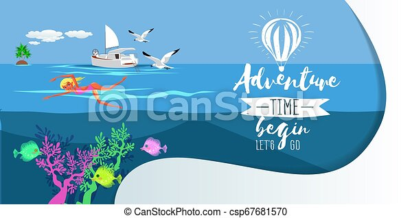 Cartoon pretty woman swimming in blue ocean - csp67681570