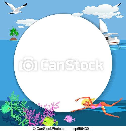 Cartoon pretty woman swimming in blue ocean - csp65643011