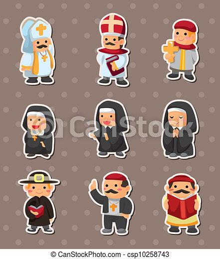 cartoon priest stickers - csp10258743