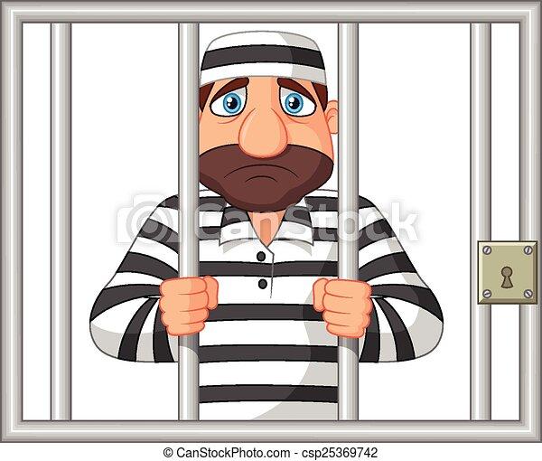 Cartoon Prisoner behind bar  - csp25369742