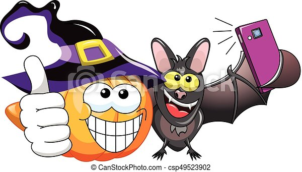 Cartoon pumpkin and bat selfie - csp49523902