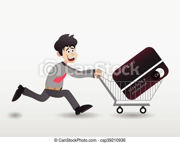 Cartoon Push Shopping Trolley Cartoon Businessman Running With Shopping Trolley With Credit Card On The Trolley
