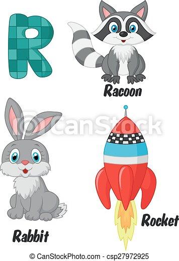 Cartoon R alphabet - csp27972925