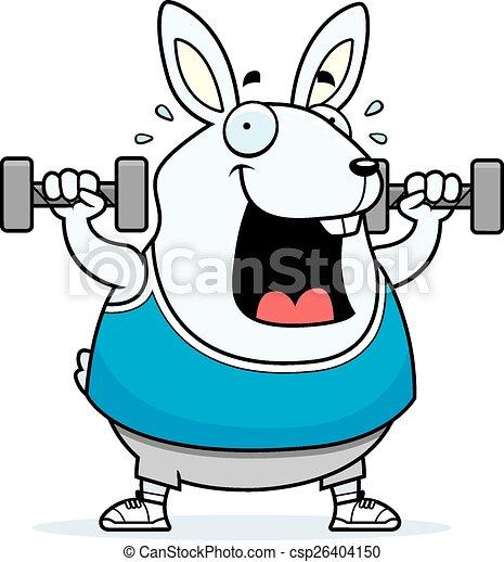 Cartoon Rabbit Dumbbells - csp26404150