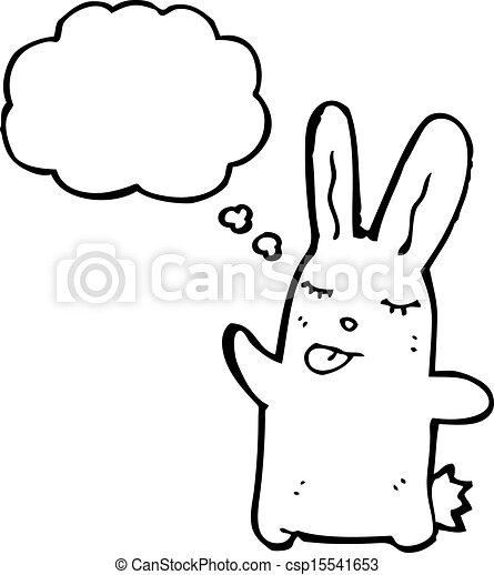 Cartoon rabbit sticking out tongue.   CanStock