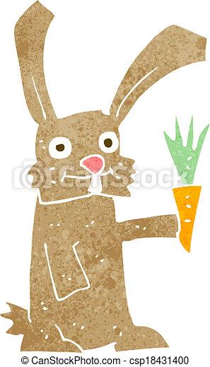 cartoon rabbit with carrot - csp18431400