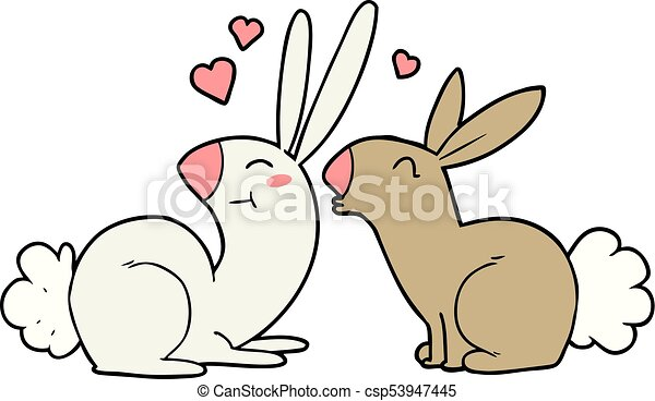 cartoon rabbits in love