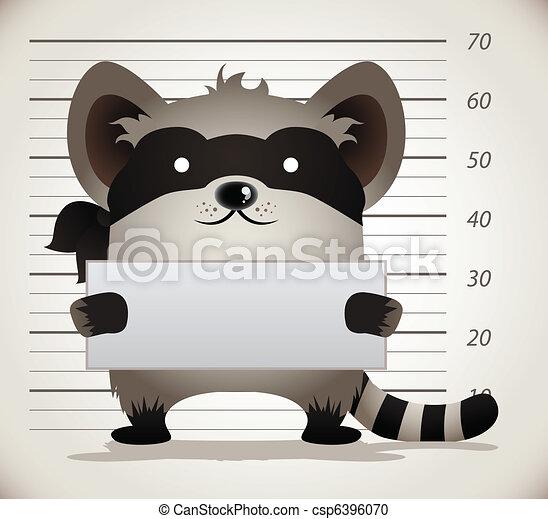 Cartoon Raccoon Mug Shot - csp6396070