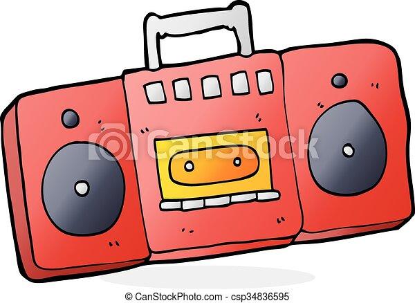 cartoon radio cassette player rh canstockphoto com Boombox Clip Art Rose Clip Art