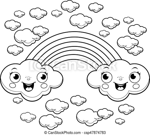 Cartoon rainbow and clouds in the sky. Vector black and white coloring page