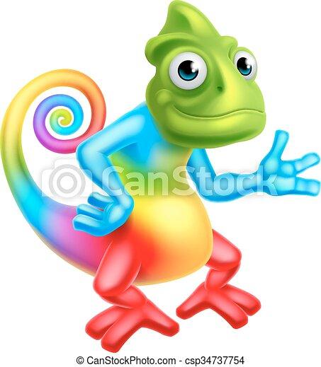 a cartoon rainbow chameleon lizard character mascot clipart vector rh canstockphoto com cute chameleon clipart chameleon clipart images