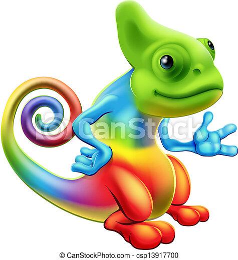 Cartoon rainbow chameleon - csp13917700