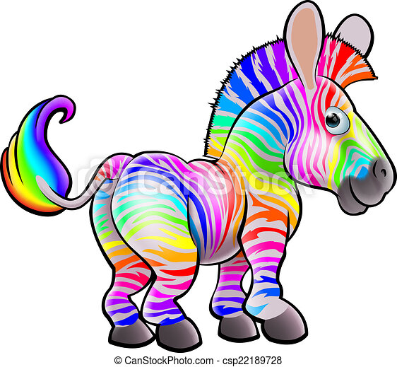 Cartoon Rainbow Zebra - csp22189728