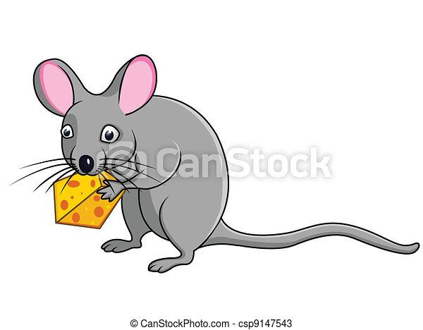 Cartoon rat with cheese  - csp9147543