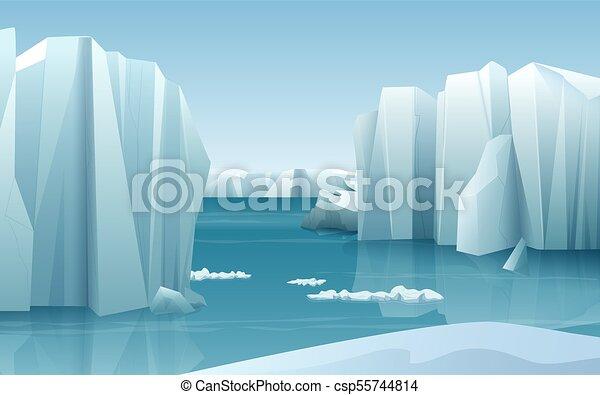Cartoon realistic nature winter arctic ice landscape with iceberg and snow mountains hills. - csp55744814