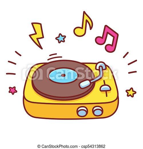 Cartoon record player. Cartoon hand drawn retro vinyl ...
