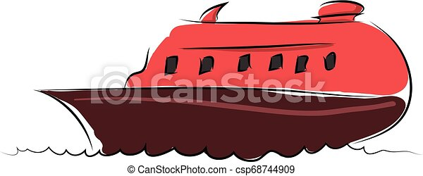 Cartoon red boat vector illustration on white background - csp68744909