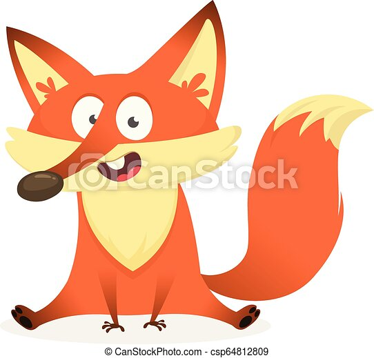 Cartoon red fox character, vector illustration, isolated on white background - csp64812809