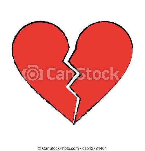 cartoon red heart broken sad separation - csp42724464