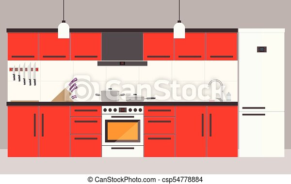 Cartoon red kitchen interior with fridge, oven and cooking appliances