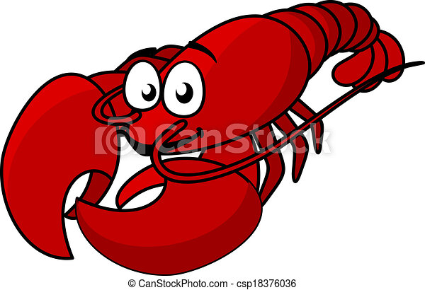 cartoon red lobster mascot with long tail isolated on white vector rh canstockphoto com lobster clip art borders lobster clipart png