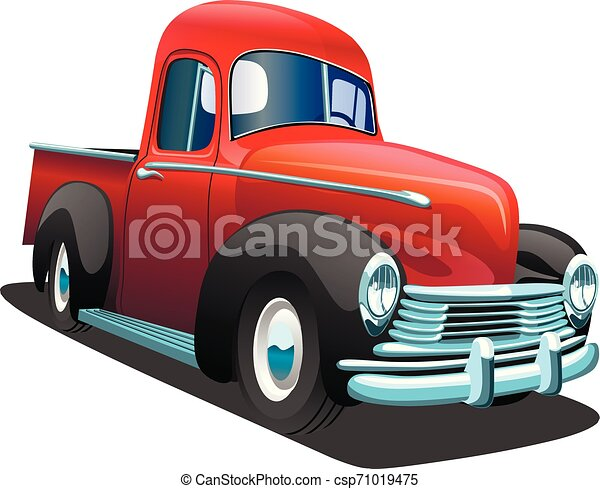 Cartoon red retro truck pickup car, on a white background. ESP Vector illustration. - csp71019475
