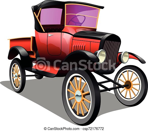 Cartoon red retro truck pickup car, on a white background. ESP Vector illustration. - csp72176772