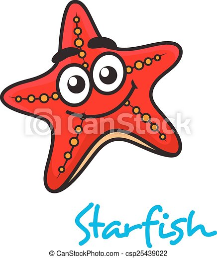 Cartoon red star fish with happy face - csp25439022