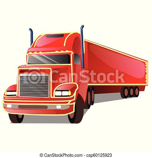 Cartoon red truck isolated on white background. Vector cartoon close-up illustration. - csp60125923
