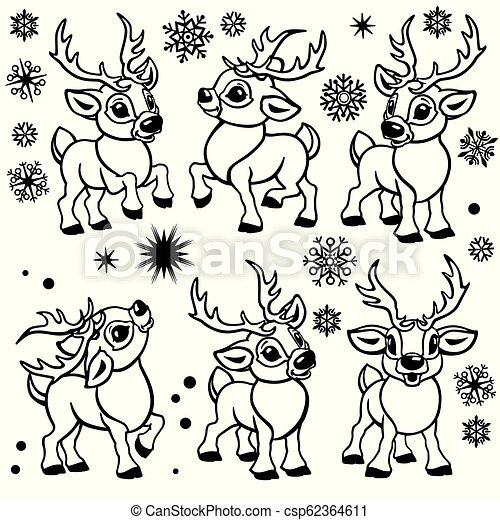 Christmas Images Cartoon Black And White.Cartoon Reindeers Outline Set