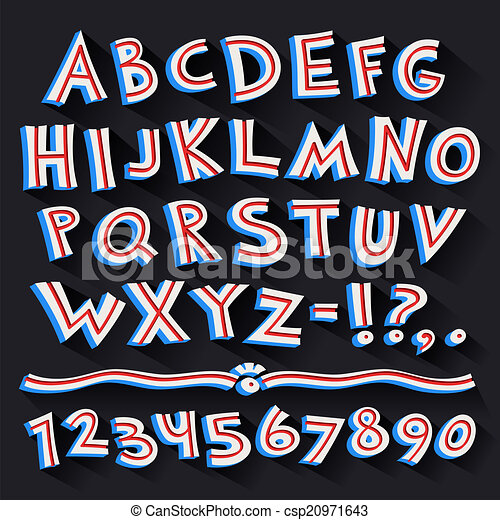 Cartoon Retro 3D Font with Strips on Black Background - csp20971643