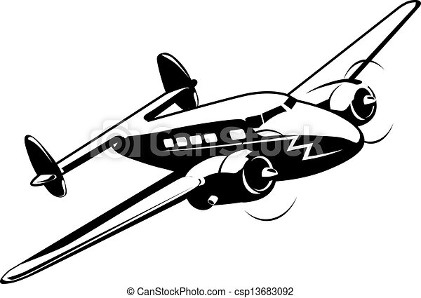 Cartoon retro airplane - csp13683092
