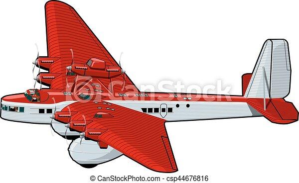 Cartoon Retro Airplane - csp44676816