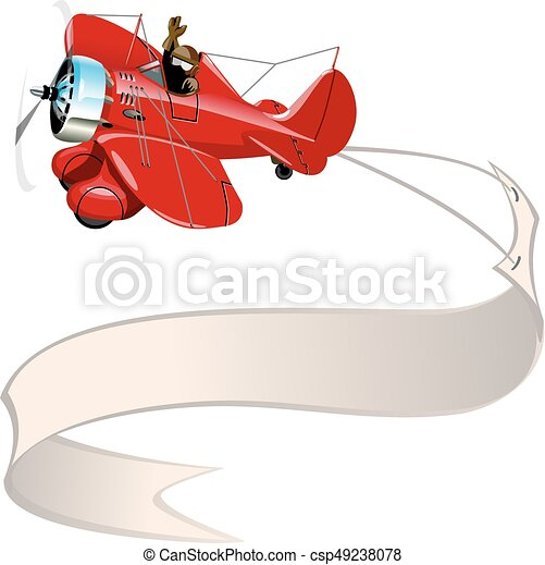 Vector Cartoon Retro Airplane With Banner Available Eps 10 Vector