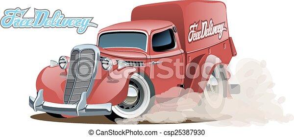 Cartoon retro delivery van - csp25387930